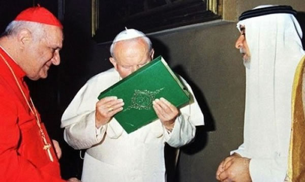John Paul II bowed to and kissed the Koran